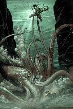 Hulk vs. Octopus by Lee Weeks