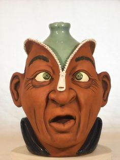 Melvin Crocker Zipper Head face jug - Southern Folk Pottery
