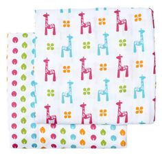 Large muslin blankets have a variety of uses and this brights set is fun as well as practical.