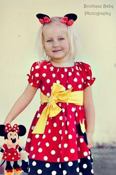Minnie Mouse Peasant Dress and Sash - Sizes 12mos - 6yr. $35.00, via Etsy.