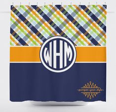 Boys Shower Curtain Plaid Shower Curtain  Navy Green and Orange by PAMPERYOURSTYLE
