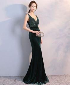 Elegant green velvet long evening dress, V neck prom dress #prom #dress #gowns #promdress