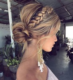50 Fabulous Braided Updo Hairstyle Women Ideas - Up hairstyles - Frisuren Easy Summer Hairstyles, Easy Hairstyles, Prom Hairstyles, Hairstyle Ideas, Bridesmaids Hairstyles, Everyday Hairstyles, Braided Front Hairstyles, Bridesmaid Hair Braided, Bridesmaid Dresses