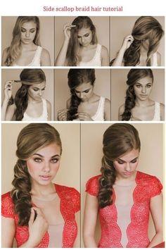 cute hairstyles DIY / side scallop braid hair tutorial #hairtutorials   Visit http://www.rpgshow.com/officialblog/ for more hair ideas & tutorials. Find trendy hairstyles 2014 here.