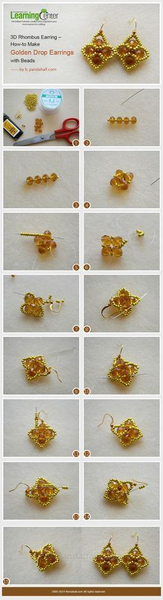 3D Rhombus Earring – How to Make Golden Drop Earrings with Beads