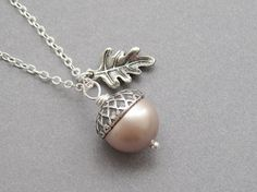 Acorn necklace, gold or silver oak leaf, swarovski pearl color choice, antiqued silver, woodland autumn fall jewelry on Etsy, $21.00