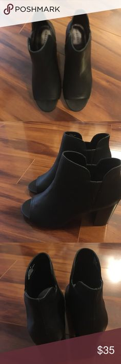 Madden Girl Black Peep Toe Booties Size 8M NWOT Never Worn Madden Girl Booties Madden Girl Shoes Ankle Boots & Booties