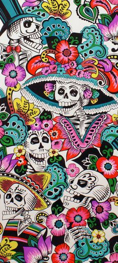 Catrina Chiquita, folklorico, Alexander Henry Cotton Fabric in Natural - My Sugar Skulls Skull Wallpaper, Wallpaper Backgrounds, Iphone Wallpaper, Sugar Skull Art, Sugar Skulls, Day Of The Dead Art, Retro Poster, Mexican Folk Art, Mexican Crafts