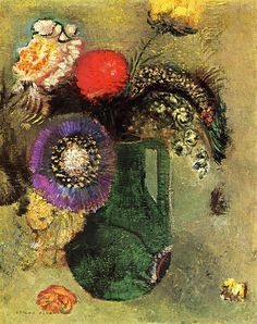 odilon redon | Odilon Redon – Flowers in Green Vase with Handles | my heart to your ...