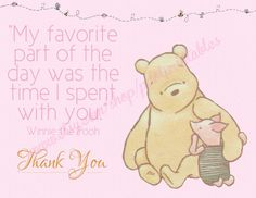Pink Classic Winnie the Pooh Thank You Card  by pdotprintables, $2.25