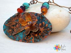 Necklace Dragonfly: copper, embossing, handmaded dragonfly