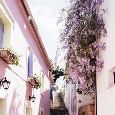 Wishing we were wandering these colorful streets of Greece today...How are you spending Labor Day?  Regram @corinanika  #labordayweekend #vacationgoals #greece #narrowstreets #shadesofpurple #floralinspo #kimonostyle #kimonos #madebysumi #sosumi