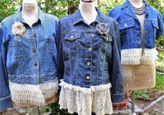 I need to do this to my vintage Levi's jacket. The Polka Dot Closet: Altered Jean Jackets For The Fancy Flea