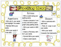 Need some fresh ideas to liven up the mundane task of writing spelling words? Spelling Menu