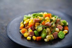 springtime succotash with medley of corn, carrots, spring onions, and fava beans {sans the ham}