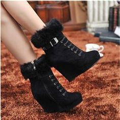 Attractive Latest Martin Boots Thicken Cotton Platform Ankle Boots