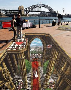 Whoa! A stunning 3D image on a Sydney pavement by Joe Hill, a British street artist.