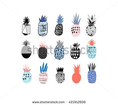 Collection of cute pineapples with different hand drawn textures. Vector. Isolated
