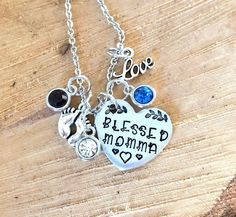 Hand stamped 25mm custom made personalised  name pendant with heart and birthstone charm fast post monogram necklace