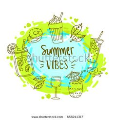 Summer label, logo, hand drawn and design elements for summer holiday, Vector illustration for poster and invitation.