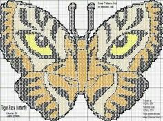 Butterfly tiger wall hanging Butterfly Cross Stitch, Cross Stitch Bird, Beaded Cross Stitch, Cross Stitching, Cross Stitch Patterns, Plastic Canvas Letters, Plastic Canvas Ornaments, Plastic Canvas Crafts, Canvas Designs