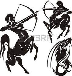 Black Ink Sagittarius Zodiac Tattoo Design