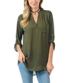 Take a look at this Goo Yoo Olive Three-Quarter Sleeve Tunic today! 61c1eb0ddb1c