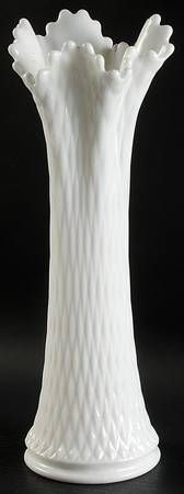 """Have Medium width: Westmoreland English Hobnail-Milk Glass (Round Or Hex Base) Small Swung Vase, 15.5""""h"""