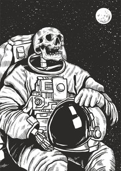 Skeleton Astronaut canvas print from Wallasso.Bring your artwork to life with the texture and depth of a stretched canvas print. Your new wall art gets printed in sharp detail onto one of our premium canvases and then stretched on a wooden frame of Wall Stickers Vector, Art Sketches, Art Drawings, Astronaut Drawing, Astronaut Wallpaper, Cd R, Skeleton Art, Skeleton Makeup, Skull Makeup