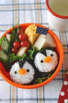 Penguin Onigiri (Japanese Rice Balls) Kyaraben Bento by akinoichigo
