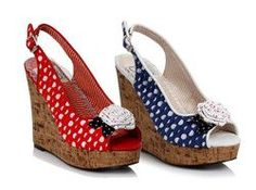 4 inch sandal polka dot wedge