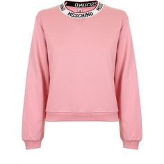 Moschino Logo Tape Sweatshirt (8.925 RUB) ❤ liked on Polyvore featuring tops, hoodies, sweatshirts, collar top, moschino, logo sweatshirts, red top and pink top