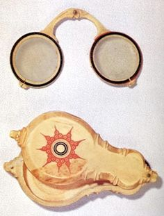 """The world's oldest surviving pair of glasses, from 15th century Japan. According to legend, this folding ivory pair at the Daisenin Temple in Kyoto belonged to the twelfth shogun. Glasses are thought to have been invented in medieval Florence; it is unknown when and how the technology reached Japan."""