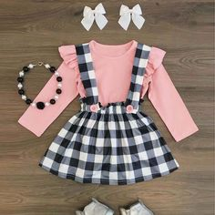 Sweet Plaid Toddler Baby Girl Tops T-shirt Suspender Skirt Dress Outfits Clothes in Baby, Baby Clothing, Girls Little Girl Outfits, Little Girl Fashion, Toddler Girl Outfits, Baby Girl Dresses, Toddler Fashion, Baby Outfits, Baby Dress, Dress Outfits, Kids Outfits