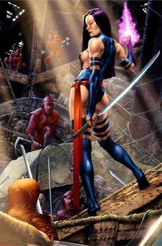 Psylocke by Jay Anacleto - - Marvel Women, Marvel Girls, Comics Girls, Marvel Comic Universe, Marvel Comics Art, Marvel Heroes, Comic Movies, Comic Book Characters, Marvel Characters