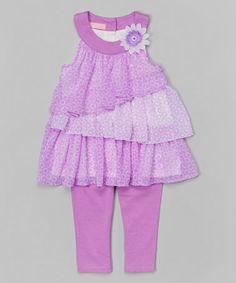 Purple Tiered Yoke Tunic & Leggings - Infant, Toddler & Girls by Kids Headquarters #zulily #zulilyfinds