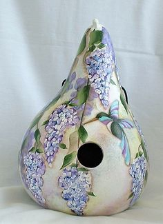 Hummingbird with Wisteria Flowers Gourd Birdhouse - Hand Painted Gourd Hand Painted Gourds, Gourds Birdhouse, Wisteria, Hummingbirds, Shades Of Green, Bird Houses, Halloween Decorations, Turquoise, Purple