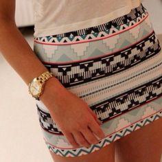 print bodycon skirt