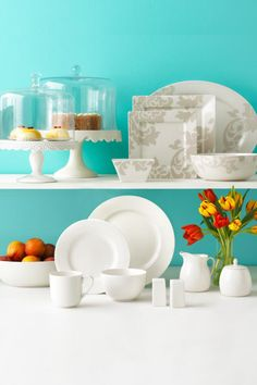 You can't go wrong with white! In a colorful kitchen, white dinnerware and serveware truly stand out. Plus, these pieces will never go out of style.