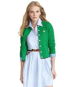 Brooks Brothers Supima bright green cardigan with embroidered logo with shirt dress underneath