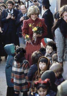 December 6 1982 Princess Diana visiting the Millan Asian Community Playgroup in Wandsworth, London.