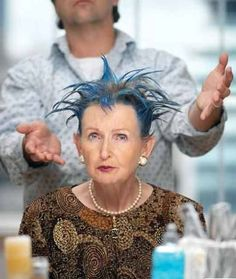 As I child, I witnessed my grandma's blue hair fiasco.  She would have so loved this photo and rocked this look!