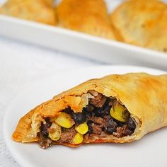 Corn, Black Bean and Beef Empenada. Baked, not fried! I wonder if this would be equally as good with Chicken instead of Beef...