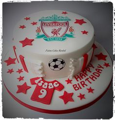 Liverpool Cake Football Birthday Cake, Dad Birthday Cakes, Birthday Ideas, Sport Cakes, Soccer Cakes, Football Cakes, Paul Cakes, Liverpool Cake, 18th Cake