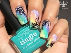 Swirls & Rainbow Stamping Mani - Nails by Cassis #nails #nailart…