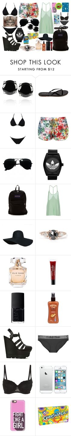 """""""Beach"""" by queenfangirl ❤ liked on Polyvore featuring Kenneth Jay Lane, Tkees, Ray-Ban, adidas, JanSport, Cheap Monday, Elie Saab, philosophy, NARS Cosmetics and Hawaiian Tropic"""