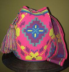 Authentic 100% Wayuu Mochila Colombian Bag Large Size Gorgeous Neon Floral  | eBay