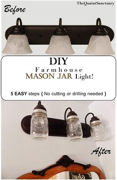 The Quaint Sanctuary: { DIY F a r m h o u s e Bathroom Light! }