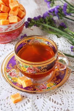 SAFFRON INFUSED SUGAR CUBES - I don't like saffron, and purple, and lavender, and tea without milk, but the colors are amazing.