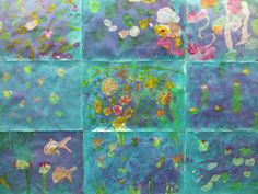 My second graders have started to finish up their water lily ponds. Here are a few of the paintings from the front hallway display....